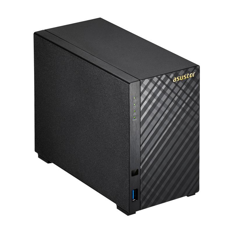 ASUSTOR AS3102T v2 NAS 2ベイ Celeron デュアルコアプロセッサーと 2GB のデュアルチャンネルメモリ搭載。HDD2台搭載可能