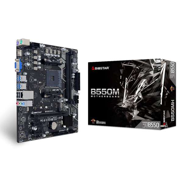 新製品 BIOSTAR B550MH AMD B550チップセット搭載、シンプルな構成の MicroATXマザーボード