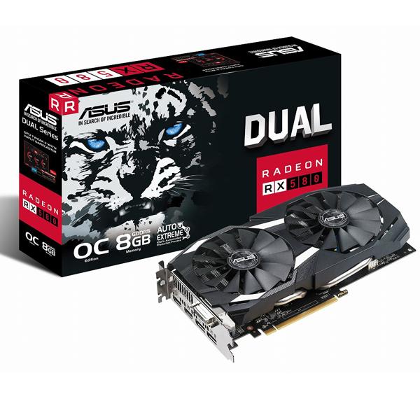 ASUS DUAL-RX580-O8G [RX580/GDDR5 8GB] IP5X対応防塵ファンを搭載した高耐久なオーバークロック仕様