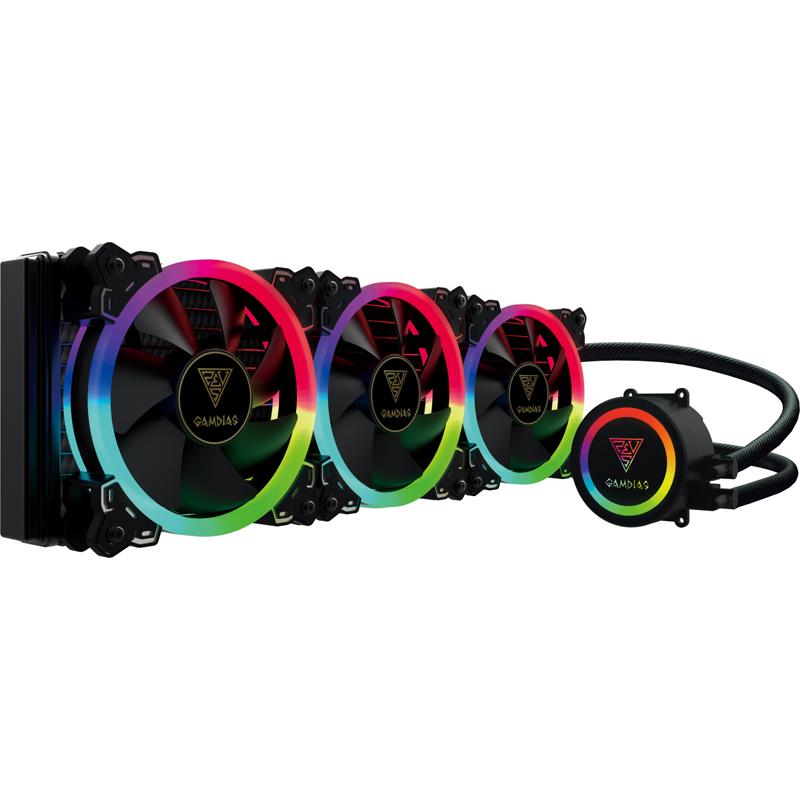 GAMDIAS CHIONE P1A-360R 水冷CPUクーラー ネオンフレックスRGB LED採用 120mmファン3基搭載