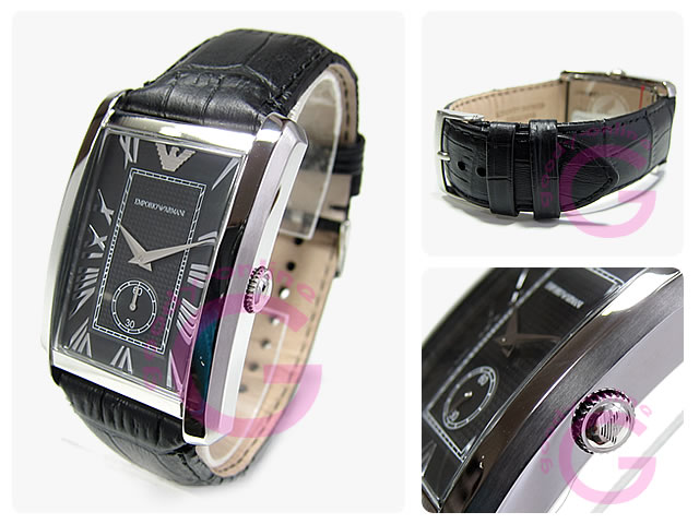 Classic leather belt small seconds Black Watch AR1604 EMPORIO ARMANI ( Emporio Armani )
