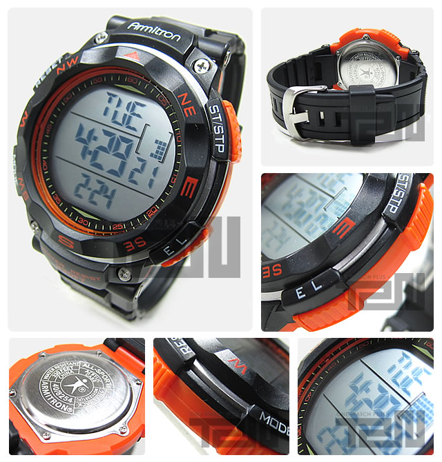 Armitron (armitron) 40 8254ORG 数字黑色 × 橙色橡胶带手表