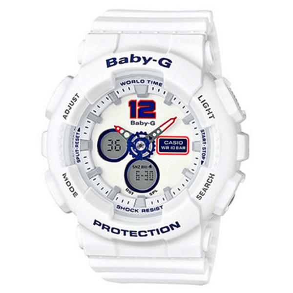 CASIO BABY-G カシオ ベビーG BA-120TR-7B/BA120TR-7B White Tricolor Series/ホワイト・トリコロール・シリーズ アナデジ ホワイト/トリコロール レディース 腕時計 日本版型番:BA-120TR-7BJF/BA120TR-7BJF