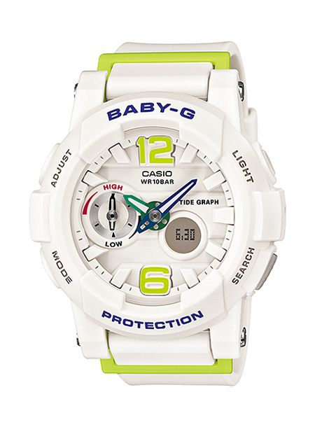 【並行輸入品】 CASIO BABY-G カシオ ベビーG BGA-180-7B2/BGA180-7B2 G-LIDE/G-ライド アナデジ ホワイト×グリーン レディース 腕時計 BGA-180-7B2JF/BGA180-7B2JF