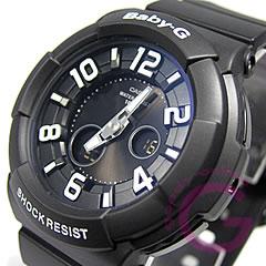 模拟数字黑色女士手表手表,卡西欧宝贝 g (卡西欧宝贝 G) BGA-132-1B/BGA132-1B 霓虹灯拨号系列