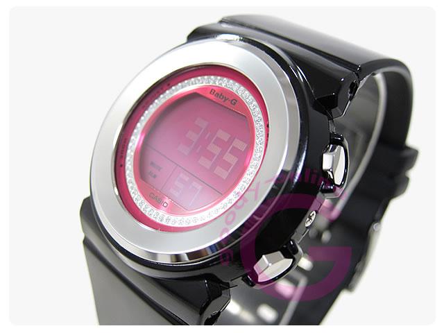 卡西欧宝宝-g (卡西欧婴孩 G) BGD-102-1DR/BGD102-1 晶美拨号和晶美全体拨号圆薄黑色女士手表
