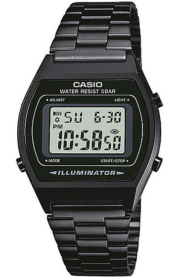 CASIO(卡西欧)B-640WB-1A/B640WB-1A基本的数码的金属皮带黑色小孩、小孩可爱! yunisekkusuuotchichipukashio手表