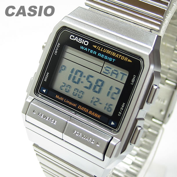 CASIO DATA BANK (Casio data bank) DB-380-1D/DB380-1D tele memo digital silver men watch watch