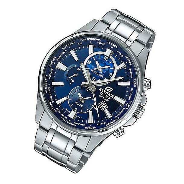 CASIO EDIFICE カシオ エディフィス EFR-304D-2A/EFR304D-2A ワールドタイム アラーム ブルーダイアル メタルベルト シルバー メンズ 海外モデル 腕時計
