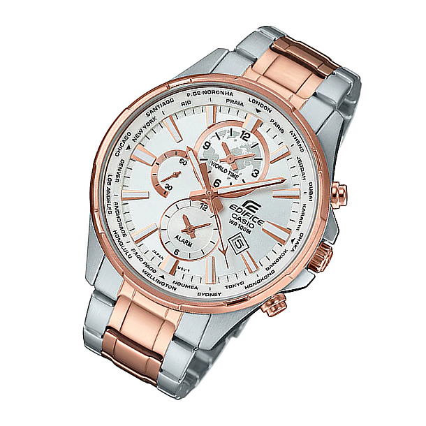 CASIO EDIFICE(カシオ エディフィス) EFR-304SG-7A/EFR304SG-7A ワールドタイム メタルベルト ゴールド×シルバー コンビ メンズウォッチ 海外モデル 腕時計