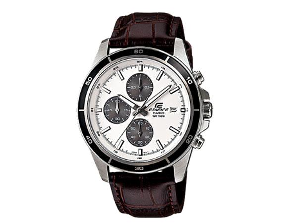 CASIO EDIFICE(カシオ エディフィス) EFR-526L-7A/EFR526L-7A クロノグラフ レザーベルト ホワイトダイアル メンズウォッチ 海外モデル 腕時計