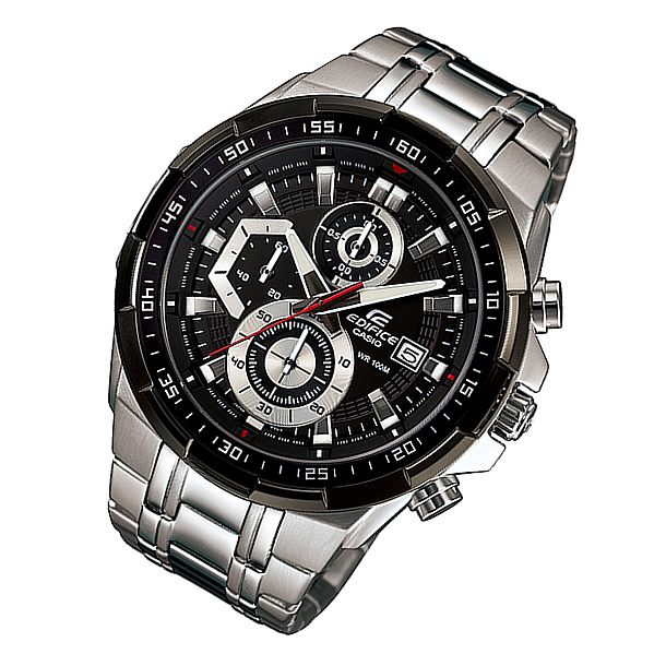 CASIO EDIFICE(カシオ エディフィス) EFR-539D-1A/EFR539D-1A クロノグラフ メタルベルト シルバー×ブラック メンズウォッチ 海外モデル 腕時計