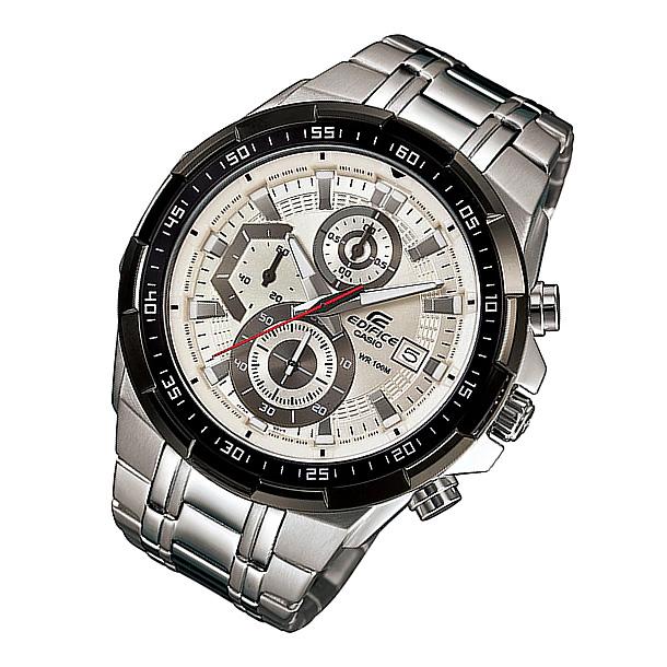 CASIO EDIFICE カシオ エディフィス EFR-539D-7A/EFR539D-7A クロノグラフ ホワイトダイアル メタルベルト シルバー メンズ 海外モデル 腕時計