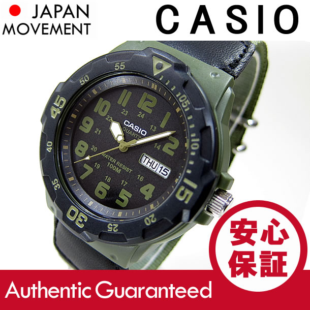 男子的CASIO(卡西欧)MRW-200HB-3B/MRW200HB-3B体育活动齿轮军事味道尼龙皮带黄褐色×黑色一对型号表手表