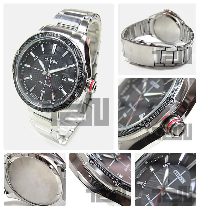 公民 (公民) BM6890 50E EcoDrive / 生态驱动太阳能黑色表盘银色金属皮带手表