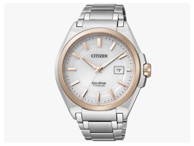 公民 (公民) BM6936-51 EcoDrive / 生态驱动太阳能钛金色 * 银白色表盘银金属带的手表手表