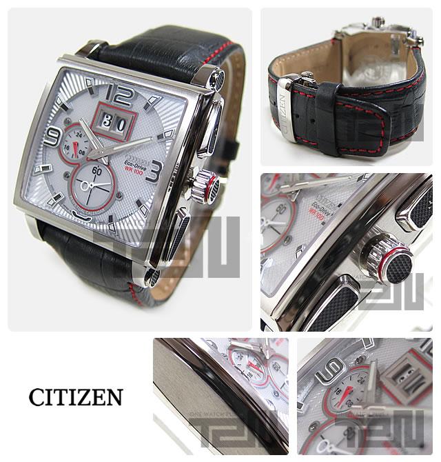 公民 (公民) BT0070-01 EcoDrive / 生态驱动太阳能黑色 x 银皮革皮带男装手表