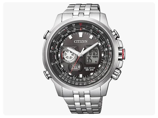 公民 (公民) JZ1061 57E PROMASTER / ProMaster EcoDrive 天空-/ 天空-生态驱动太阳能模拟数字计时黑色表盘金属带手表