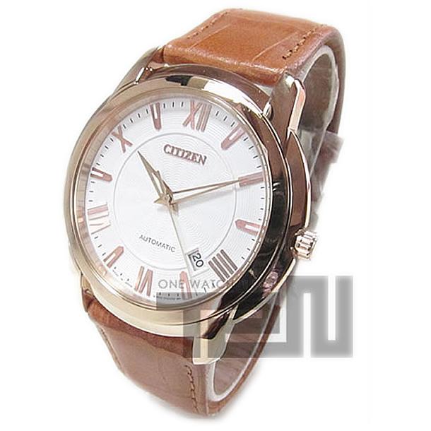CITIZEN (シチズン) NB0032-05A 自動巻き オートマチック ホワイト×ゴールド レザーベルト メンズウォッチ 腕時計 【あす楽対応】