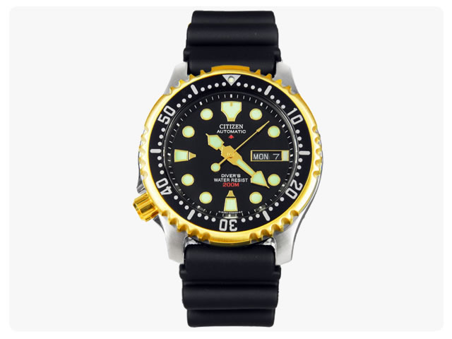 CITIZEN ( citizen ) NY0045-05EB Promaster Diver / ProMaster diver automatic winding black x Gold rubber belt watch