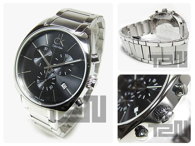 卡尔文 · 克莱恩 CK (卡尔文 · 克莱恩 CK) 手表 K2F271.61/K2F27161 交换交换计时银金属腰带黑色瑞士产的手表