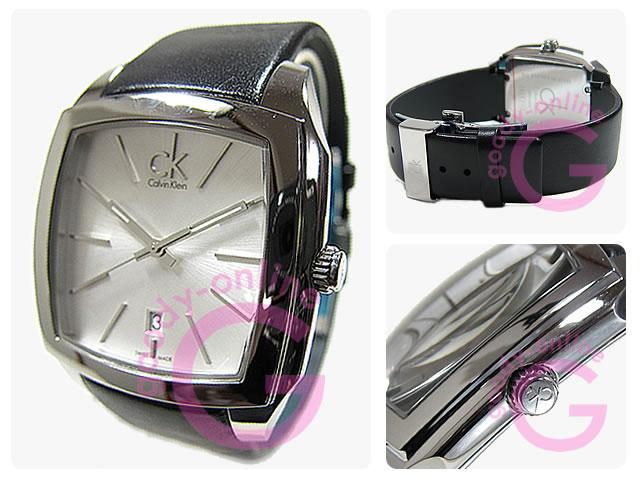 Calvin Klein(CK)K2K21120/K2K211.20 Recess/risesuruburakku×银子皮革皮带人表手表