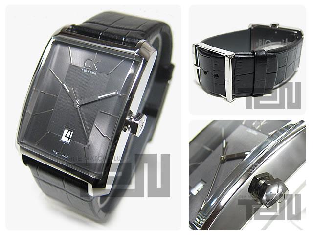 男子的Calvin Klein CK(カルバンクラインCK)手表K2M211.07/K2M21107 WINDOW视窗皮革皮带黑色Swiss made表