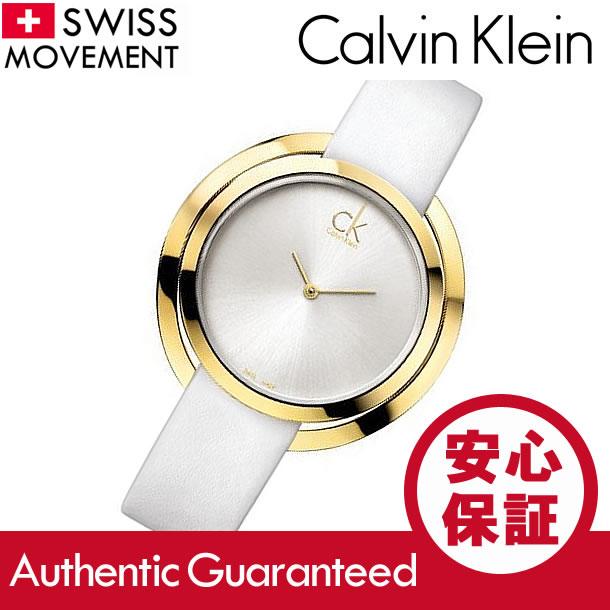 Calvin Klein CK(CK海K)K3U235L6/K3U235.L6 Aggregate/aguregetogorudo×白皮革皮带女士Swatch Swiss made手表