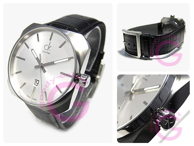 卡尔文 · 克莱恩 (Calvin Klein) 固体 K1R211.20/K1R21120 皮革皮带男装手表