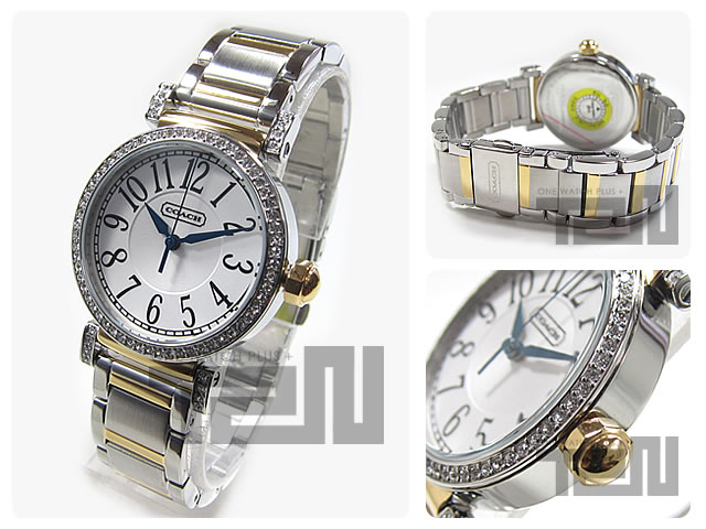 14501725 COACH (coach) New Madison/ new madison silver X gold crystal decoration Lady's watch watches