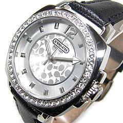迷你教练 (教练) 14501789 男朋友 / 男友迷你皮革皮带水晶装饰黑色女式手表手表