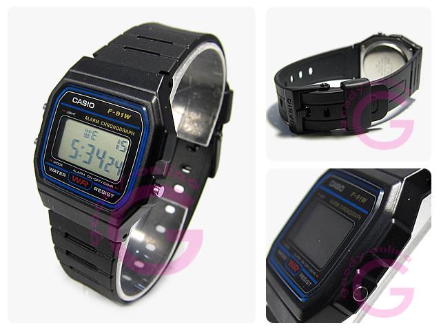 CASIO(卡西欧)F-91W-1/F91W-1标准规格蓝色拨盘男女两用表手表