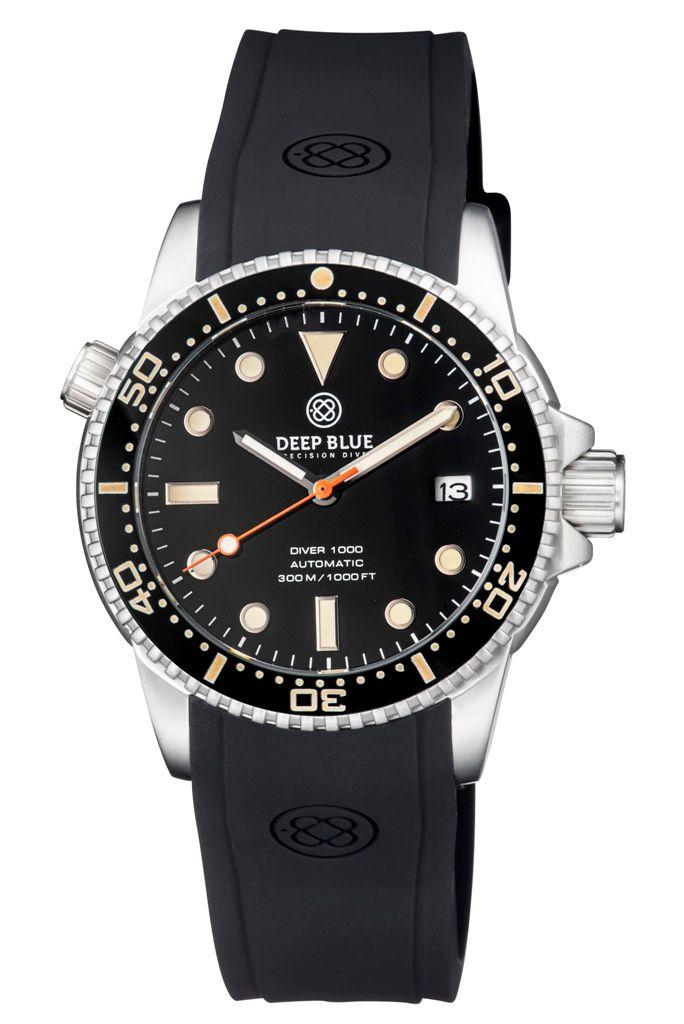 DEEP BLUE(ディープブルー)ダイバーズウォッチ DIVER 1000 II 40MM 330M/30気圧防水 SEIKO 自動巻きムーブメント セラミックべセル ビンテージ ブラックダイアル MSTR442BLKVINT 腕時計 【お取り寄せ】