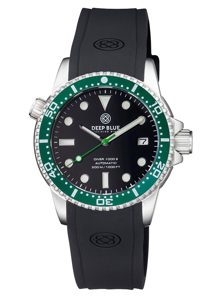 DEEP BLUE(ディープブルー)ダイバーズウォッチ DIVER 1000 II 40MM 330M/30気圧防水 SEIKO 自動巻きムーブメント セラミックべセル ビンテージ ブラックダイアル DVR402GRBLK 腕時計 【お取り寄せ】