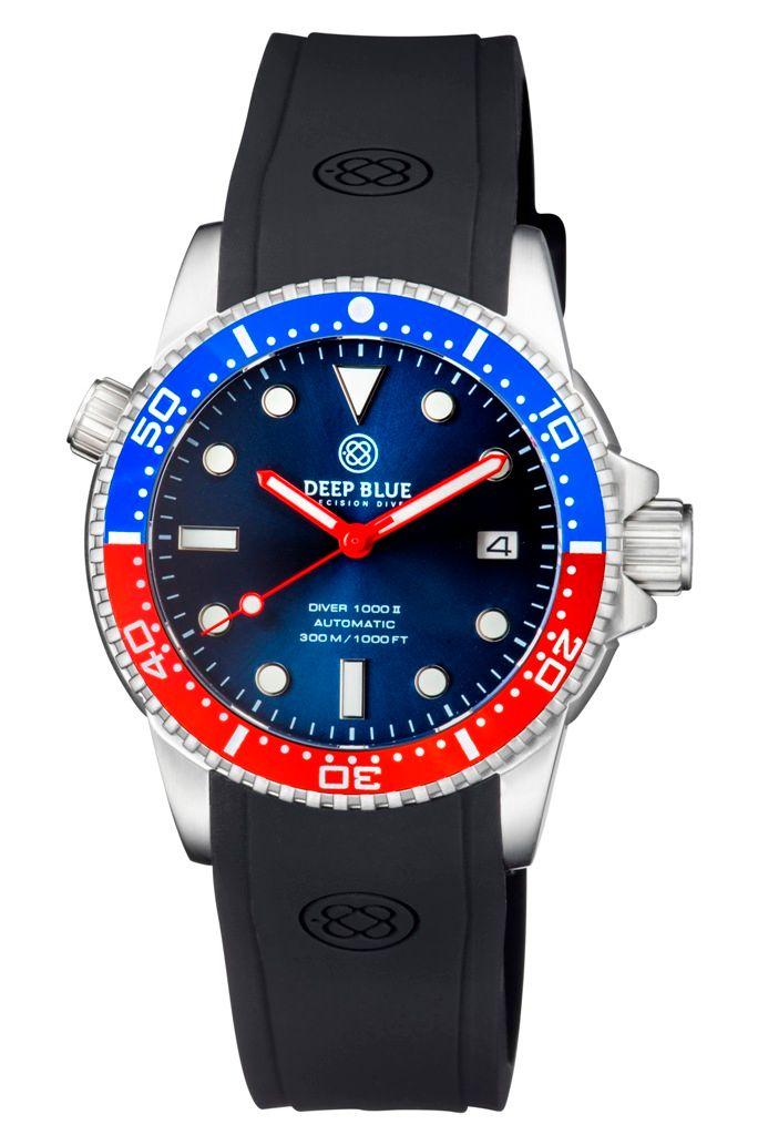 DEEP BLUE(ディープブルー)ダイバーズウォッチ DIVER 1000 II 40MM 330M/30気圧防水 SEIKO 自動巻きムーブメント セラミックべセル ビンテージ ブラックダイアル PEPS DVR402PEPS 腕時計 【お取り寄せ】