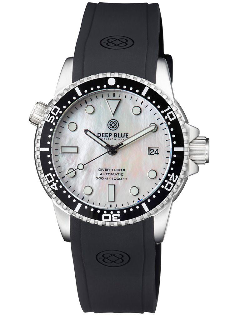 DEEP BLUE(ディープブルー)ダイバーズウォッチ DIVER 1000 II 40MM 330M/30気圧防水 SEIKO 自動巻きムーブメント セラミックべセル ビンテージ パールダイアル DVR402WHMOP 腕時計 【お取り寄せ】