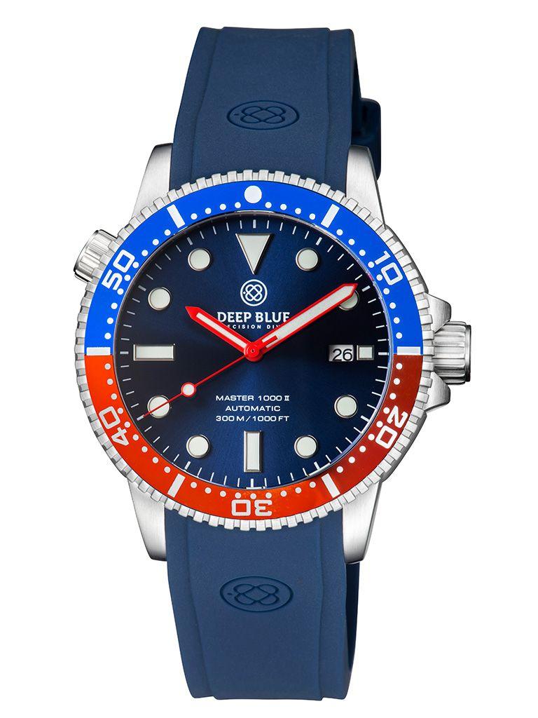 DEEP BLUE(ディープブルー)ダイバーズウォッチ MASTER 1000 II 44MM 330M/30気圧防水 SEIKO 自動巻きムーブメント セラミックべセル ビンテージ ブルーダイル MSTR442PEPS 腕時計 【お取り寄せ】