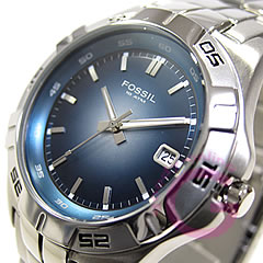 男子的FOSSIL(フォッシル)AM3996 BLUE/蓝色金属皮带表手表
