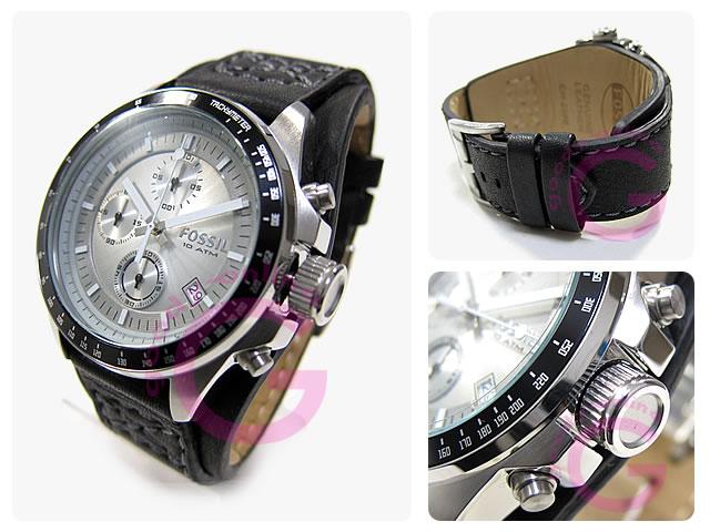 FOSSIL(fosshiru)CH2598 DECKER/层计时仪皮革皮带人表手表