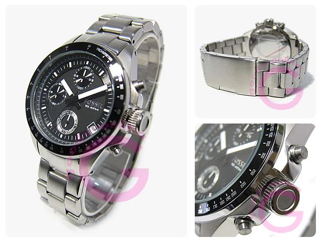 化石 (化石) CH2642 德克和德克尔计时银金属带的手表手表