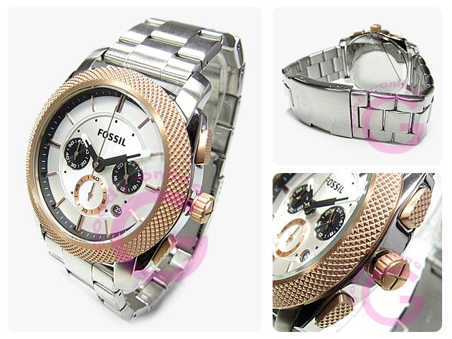男子的FOSSIL(フォッシル)FS4714 MACHINE/机器计时仪金属皮带表手表