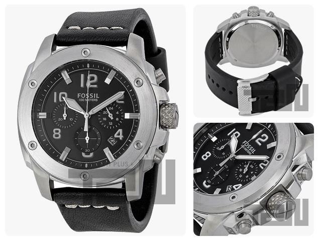 FOSSIL (fossil) FS4928 MODERN MACHINE / modern man scene chronograph leather belt Black / Silver mens watch watches