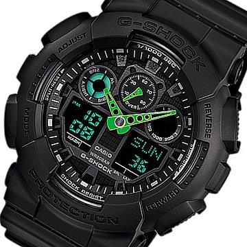 【並行輸入品】 CASIO G-SHOCK カシオ Gショック GA-100C-1A3/GA100C-1A3 アナデジコンビ 速度計測 ブラック×グリーン メンズウォッチ 腕時計 日本版型番:GA-100C-1A3JF/GA100C-1A3JF