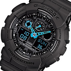 【並行輸入品】 CASIO G-SHOCK カシオ Gショック GA-100C-8A/GA100C-8A アナデジコンビ 速度計測 ブラック×ブルー メンズウォッチ 腕時計 日本版型番:GA-100C-8AJF/GA100C-8AJF