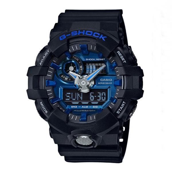 CASIO G-SHOCK カシオ Gショック GA-710-1A2/GA710-1A2 アナデジ ガリッシュカラー ブラック/ブルー メンズ 腕時計 日本版型番:GA-710-1A2JF/GA710-1A2JF
