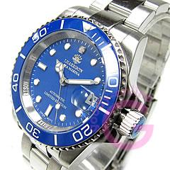 自动拧,并且日本制造的J.HARRISON(乔恩哈里森)H-019SBL运动搭载セラミックベゼルダイヤモンドインデックスブルーメンズウォッチ手表