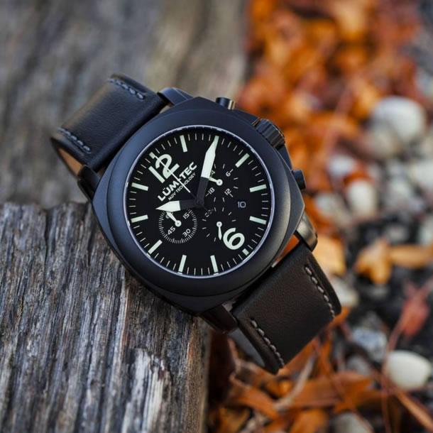 【100本限定生産】LUM-TEC/LUMTEC(ルミテック) M72 44mm クロノグラフ Miyota OS20Jムーブメント採用 チタンカーバイドPVD ブラック メンズウォッチ 腕時計