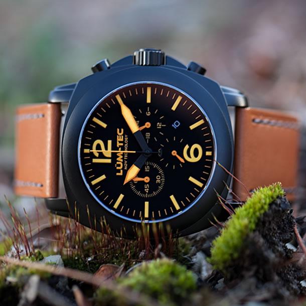 【100本限定生産】LUM-TEC/LUMTEC(ルミテック) M73-S 40mm クロノグラフ Miyota FS20Jムーブメント採用 チタンカーバイドPVD ブラック メンズウォッチ 腕時計