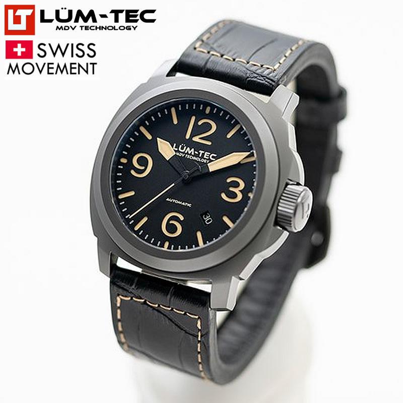 【100本限定生産】 LUM-TEC/LUMTEC ルミテック M80 チタニウムコート 44mm 自動巻き スイス製ETA 2824-2ムーブメント採用 メンズウォッチ 腕時計