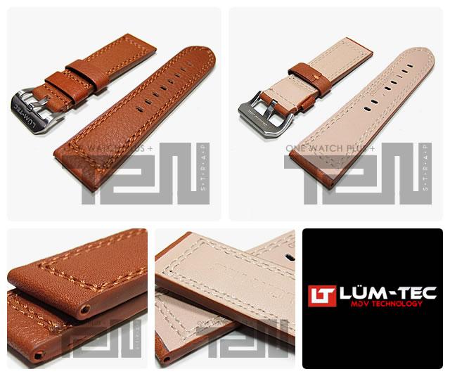【24MM/22MM 120/80】 LUM-TEC (ルミテック) ST308-24 本皮レザーベルト/ストラップ ダブルステッチ ライトブラウン 替えベルト 腕時計用 【あす楽対応】